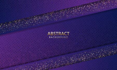 Dark blue abstract background overlap layers. Texture with gold dots element decoration. You can use for ad, poster, template, business presentation. Vector illustration