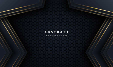 Abstract gold line arrow on black with hexagon mesh design modern luxury futuristic technology background vector illustration. Vetores