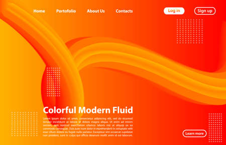 3D Abstract Fluid Shape with Gradient.Landing Page Concept in Orange Color. Abstract orange color geometric shapes background.