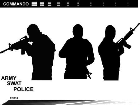 special forces: Vector illustration    Special Forces   SWAT Team  Police Illustration