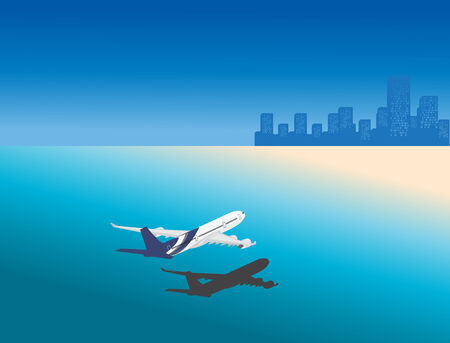 Airplane in tropical city holiday location Vector