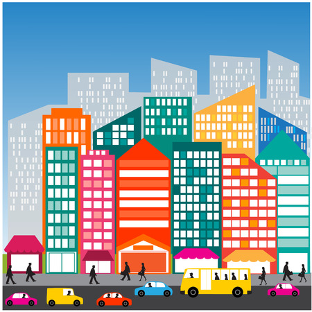 everyday scenes: City people car   street  Traffic  life  Illustration