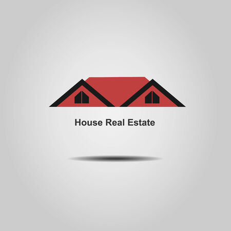House  Real Estate red roof  logo design Vector
