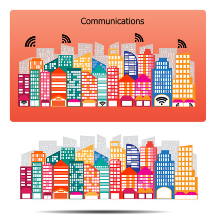 city  buildings: City buildings communications design