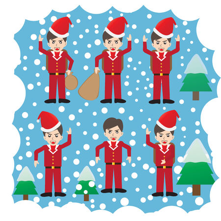 Christmas  Santa  icons Vector