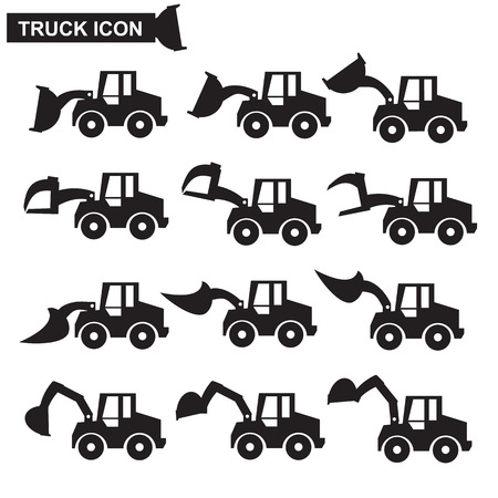 Construction machines icon set , heavy duty machines , vector Vector