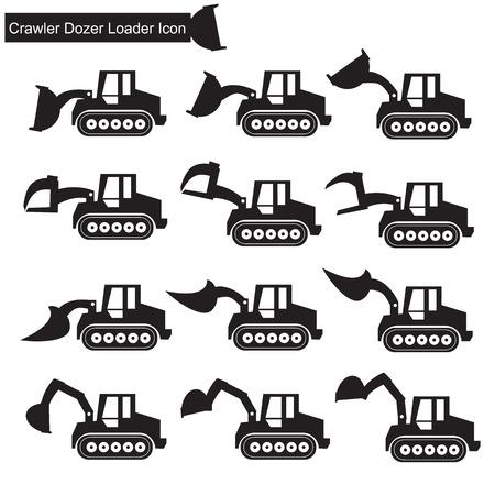 agrario: Buld�zer Icono cargador Vectores