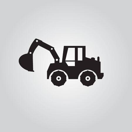 agrario: Logo excavadora de ruedas, ilustraciones vectoriales