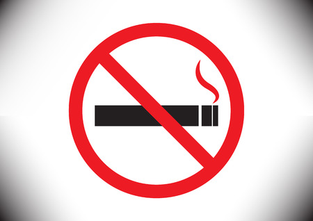 smoldering cigarette: No smoking sign design