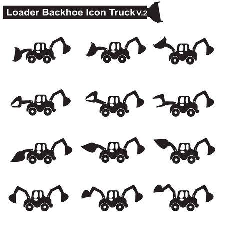 agrario: M�quinas de la construcci�n de iconos de camiones Vectores