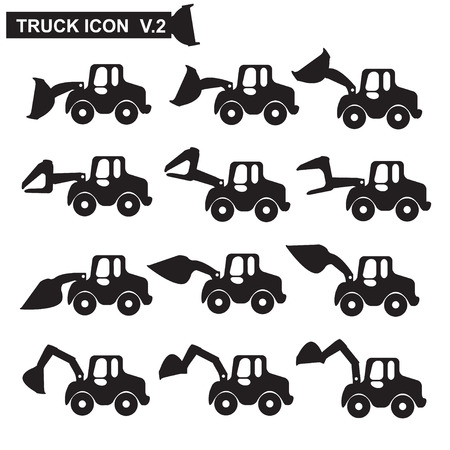 dredging tools: Construction machines truck icon Illustration
