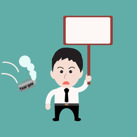 businessman jumping: Businessman holds sign - tear gas Illustration