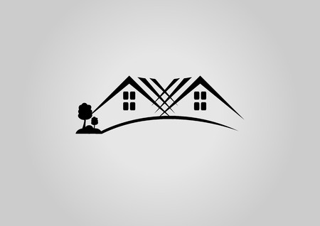 garage on house: House logo or icon Illustration