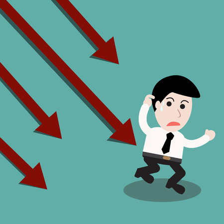 failure: Business failure  man running