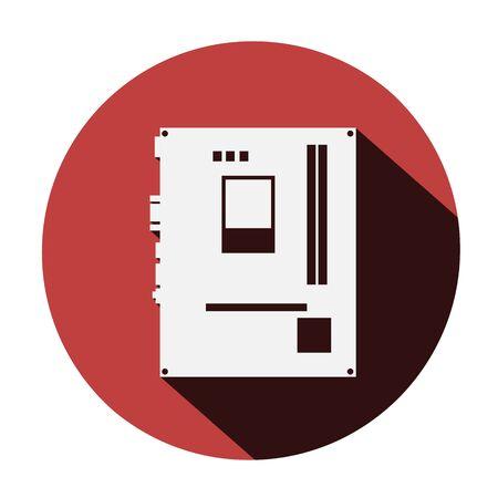 ram memory: motherboard icon long shadow - vector