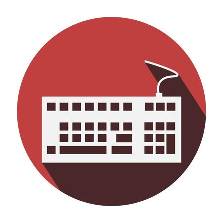 put the key: Keyboard icon long shadow Illustration