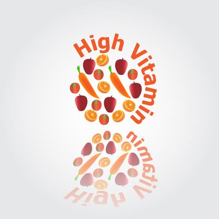 mezcla de frutas: Frutas altas de vitamina ilustraci�n vectorial