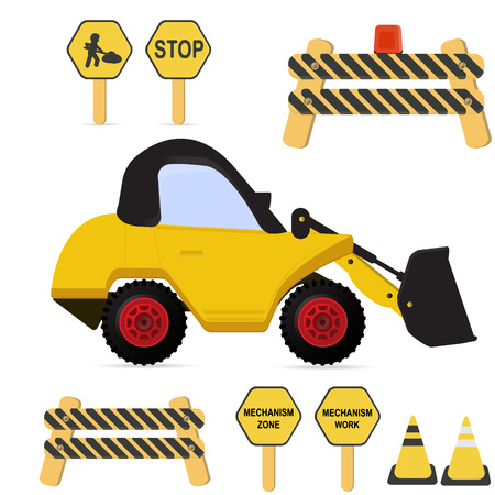 compact track loader: Construction set  . Wheel Dozer logo truck . Vector  Illustrations
