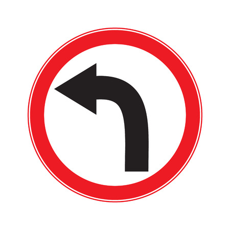 danger ahead: No Turn Left  Ahead Sign Illustration