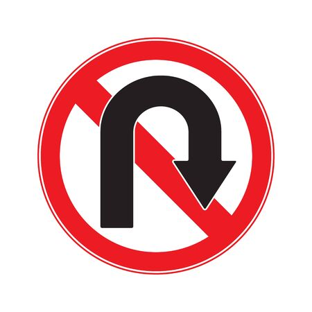 no u turn sign: No U Turn Right  Sign Illustration