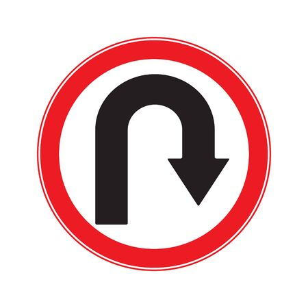 u turn sign: No U Turn Right  Sign Illustration
