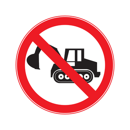dozer: Stop Sign . No entry  Sign Vector .  machine  Crawler Dozer Loader