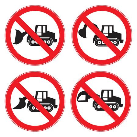 tractor warning: Stop Sign . No entry  Sign Vector .  machine  Crawler Dozer Loader . Vector set