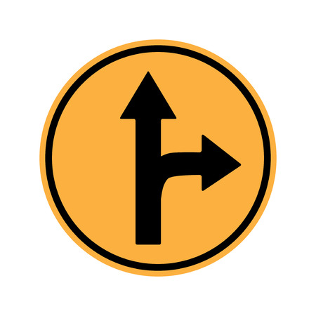 motorist: Traffic sign . Drive Straight or Right Sing