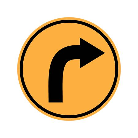 danger ahead: Traffic sign . Turn rigth