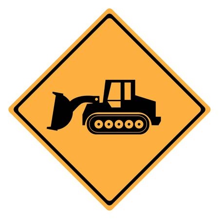 tractor warning: Warning Sign  machine . Crawler Dozer Loader