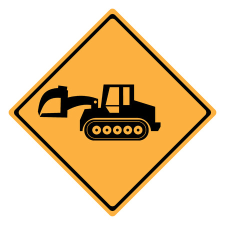 dozer: Warning Sign  machine . Crawler Dozer Loader