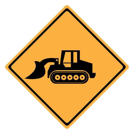 logotipo de construccion: Advertencia m�quina sesi�n. Buld�zer cargador
