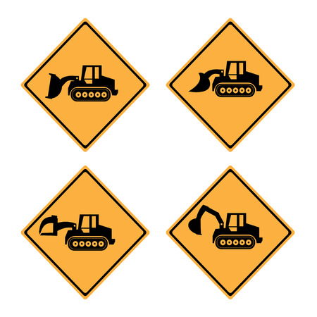 dozer: Warning Sign  machine . Crawler Dozer Loader  vector set Illustration