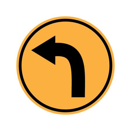 turn left sign: Traffic sign . Turn left sign  Curves sign