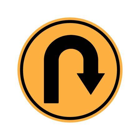 u turn sign: Warning Sign U turn Sign
