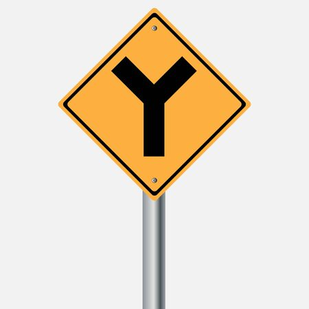 traffic pole: Traffic sign .  Y intersection vector illustration