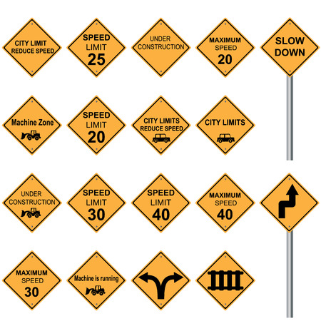 warning signs: traffic sign yellow road sign set vector Illustration on white background Illustration