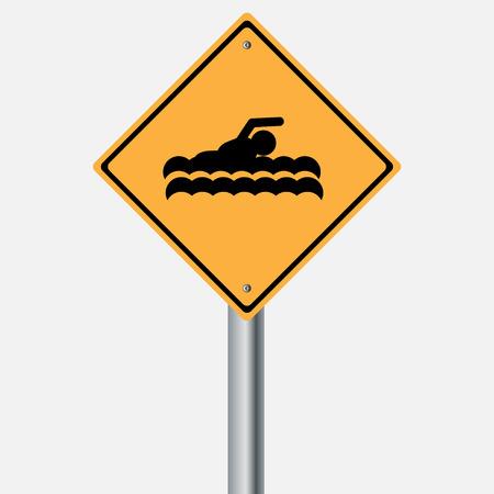 motorist: Traffic sign . Swim , Swimming