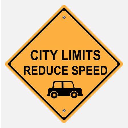 motorist: CITY LIMITS REDUCE SPEED TRAFFIC   SIGN