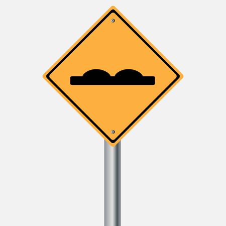 traffic pole: Traffic sign . hump  rough road