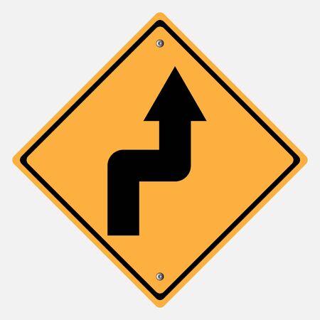 motorist: Traffic sign . Narrow Curves sign Illustration