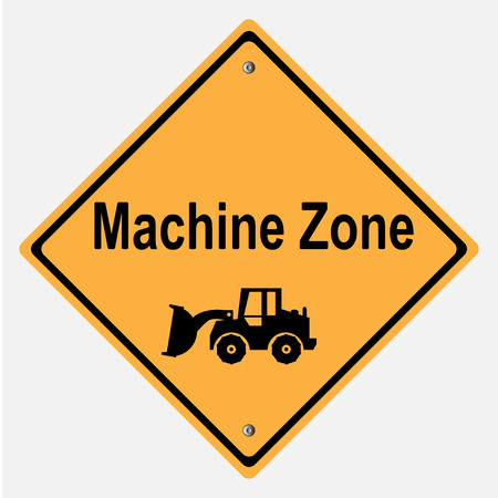 motorist: Traffic sign . Machine is running , UNDER CONSTRUCTION Illustration