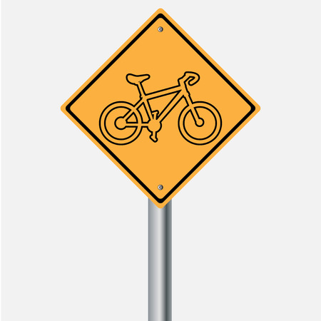 traffic pole: Traffic sign . bicycle warning  sign Illustration