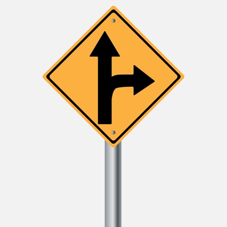 traffic pole: Traffic sign . Drive Straight or right Illustration