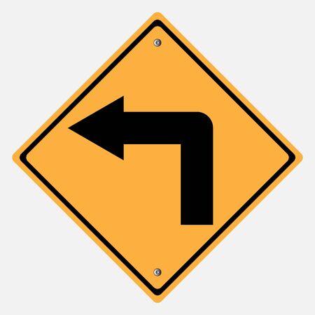 turn left: Cartello stradale. Girare segno sinistra, curve segno