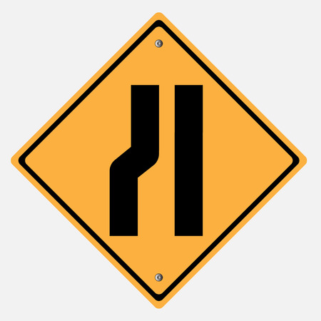 motorist: Traffic sign .  road narrow  merge Illustration