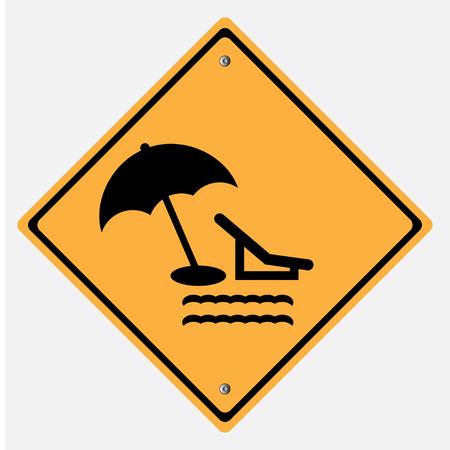 take a break: Traffic sign .  take a break , rest  sea