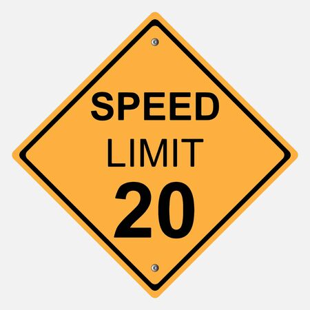 danger ahead: Traffic sign . SPEED LIMIT 20  SIGN