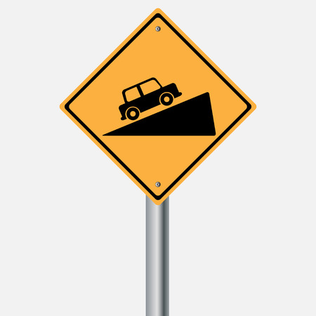 traffic pole: Traffic sign . Steep grade hill traffic sign