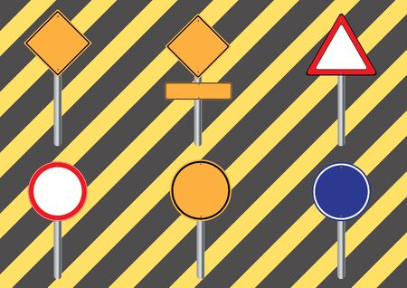 traffic pole: Traffic sign . set warning sign